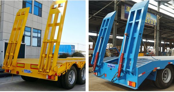 3 Axle Low Bed Truck Trailer for Sale in Tanzania - Mechanical Ramp VS Hydraulic Ramp