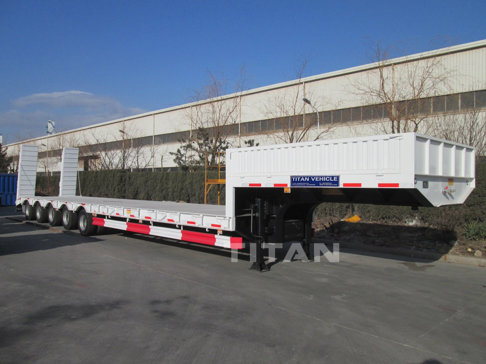 Hydraulic 2 axle 3 axle 4 axle Lowbed 80 ton 100 ton 120 ton 150 ton low loaders semi Trailer with sidewall