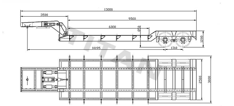 2 axle detachable gooseneck lowbody trailer drawing