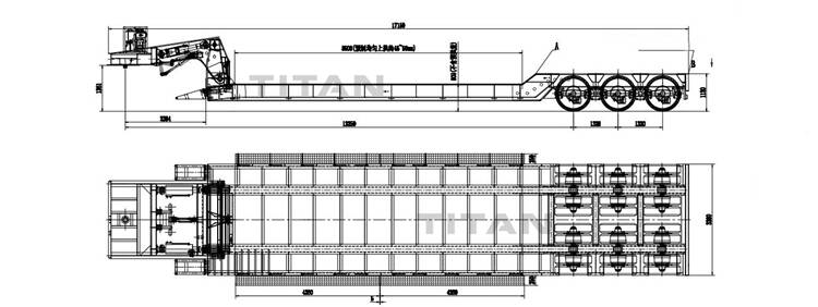 3 line 6 axle removable gooseneck lowboy trailer drawing