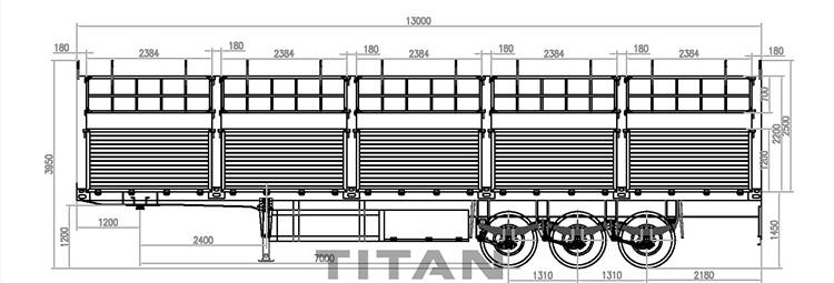 Technical drawing of TITAN fence trailer