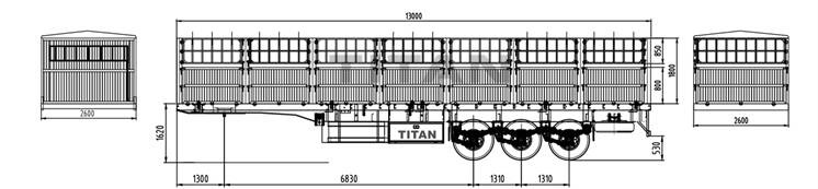 3 axle fence cargo semi trailer drawing