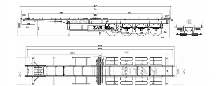 4 axle skeleton trailer drawing