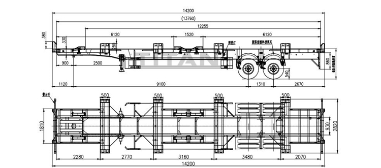 45ft 2 axles yard terminal trailer drawing