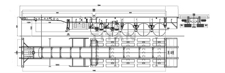 5 axle container chassis trailer drawing