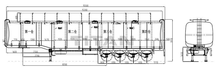 4 axle fuel tanker trailer technical specification drawing