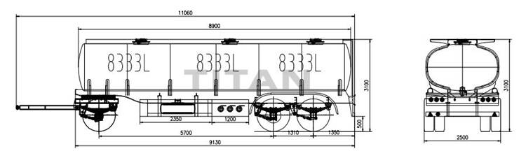 draw bar monoblock trailer technical parameter drawing