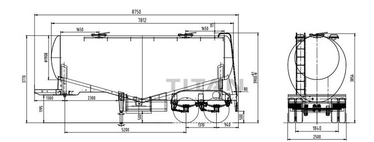 2 axle 30cbm cement bulker technical specification drawing