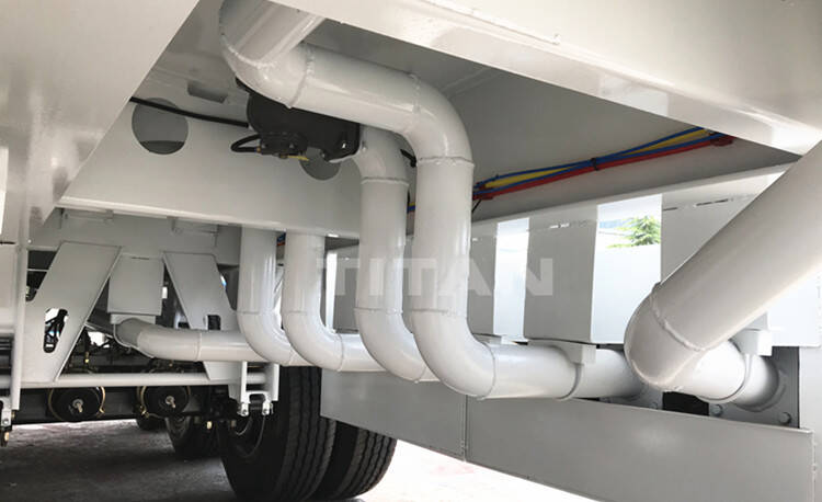 Discharge pipes in different compartments of road fuel tankers for sale