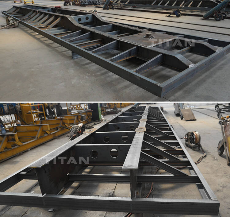 Tripple axle flat bed frame factory display