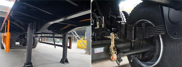 Flatbed Container Trailer support device and suspension