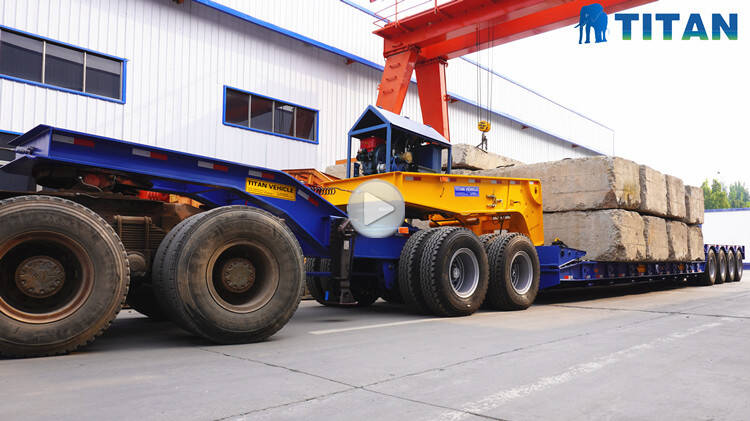 4 axle 150 ton detachable gooseneck lowboy trailer testing video display