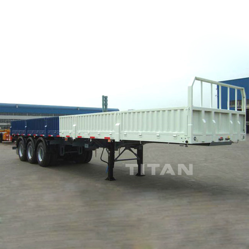 Tri-axle Flatbed Trailer 40ft Side Wall Open Semi Trailer