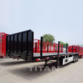 Flatbed trailer with column